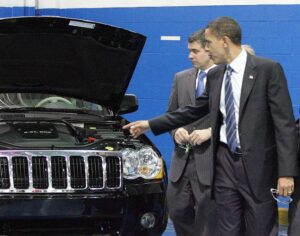 Is that our tax money under the hood?  Then-candidate Obama tours a Chrysler plant.