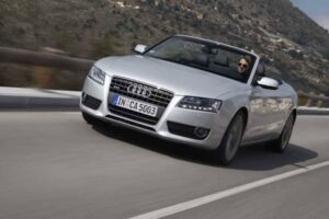 The new A5 Cabriolet's roof can be raised or lowered in 15 seconds -- and at speeds up to 30 mph.