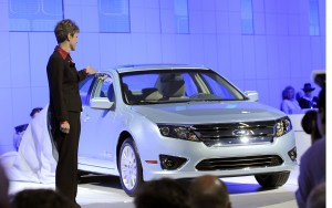 Ford expects to report a jump in July sales, its first since November 2007, in part due to demand for vehicles like the 2010 Ford Fusion Hybrid, shown during its unveiling, at the L.A. Auto Show