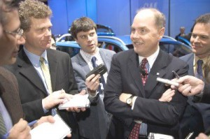 The new General Motors Chairman, Fritz Henderson, talks to reporters whn he was the head of Europe.