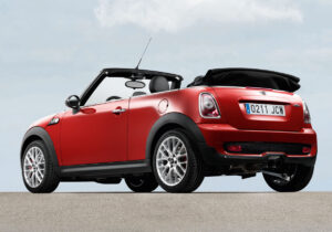 The ragtop doesn't fold down quite flat enough, limiting visibility out of the rear mirror.