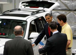 Pres. Barack Obama visits CA EV test center, where he announced $2.4 bil program to support battery car development.