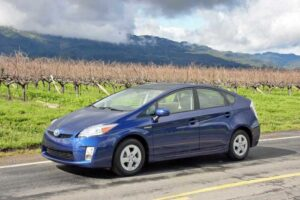 The 2010 Toyota Prius.  Long the world's best-selling hybrid, but there are storm clouds gathering as the hybrid market collapses.