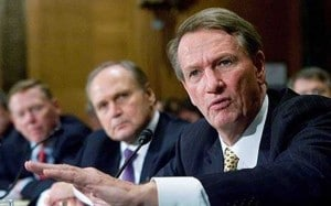 GM CEO Rick Wagoner, (r) and Bob Nardelli testifying before Congress. Is Nardelli out like Wagoner?