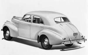 "From 1936 to 1956, Pontiacs were noted for their often heavily chromed waterfall front end appearance. Generally they shared GM's Fisher ""A"" Body with Chevrolet."
