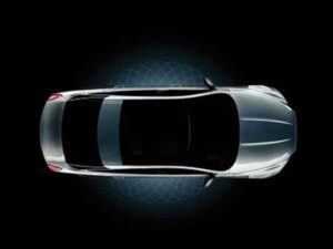 Jaguar provided this sneak peek of the all-new, 2010 XJ sedan, shown here with the optional Panorama roof.