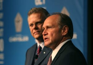 Tom LaSorda, Chrysler Vice Chairman and President, left, and Bob Nardelli, Chairman and CEO, will leave Chrysler.