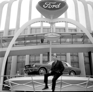Henry Ford II with the Mustang at the World's Fair in Flushing Meadows, New York, on April 17, 1964.