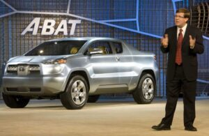 Toyota Motor Sales USA's top gaijin, Jim Lentz, revealing the A-BAT concept car.