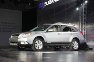 Though the guy with the big knife and the crocodile boots is gone, the Subaru Outback remains.