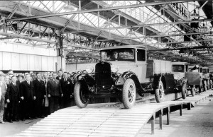 October 1931 First Vehicle off assembly line Dagenham, Model AA Truck.