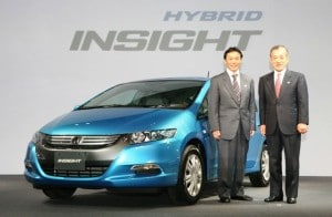 Takeo Fukui President and CEO of Honda, right, and Yasunari Seki Development Director of