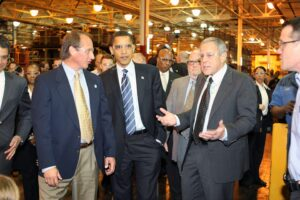Chrysler LLC Vice Chairman Jim Press and then Senator Barack Obama