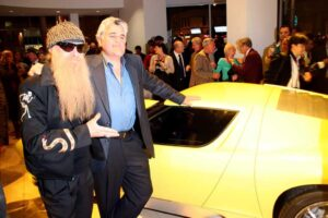 Collectors converge: ZZ Top's Billy Gibbons and Jay Leno and a classic Lamborghini Miura.