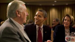 President Obama with house majority leader Steny Hoyer, D-MD, and house speaker Nancy Pelosi, D-CAca