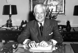 Secretary of Defense Charles E. Wilson, aka Engine Charlie, at his desk in the Pentagon