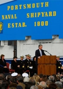 Senator Gregg addresses the crowd gathered at the Portsmouth naval shipyard during the commissioning of the USS New Hampshire.