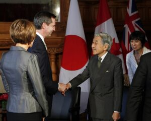 McGuinty, left, meeting with the Japanese Emperor,right, July 2009