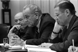 "While Robery S. McNamara - shown here with then-President Lyndon Johnson - was best known for his role in the Vietnam War, he earlier earned a reputation as one of the ""Whiz Kids"" who saved Ford Motor Co."