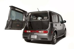 The rear of the 2009 Nissan Cube features a refrigerator-style door, rather than the traditional liftgate-type hatch.