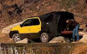 Was it the ugliest vehicle ever made or a trendsetter ahead of its time?  The 2001 Pontiac Aztek is shown here with a pop-up tent, part of an astounding line of accessories that made it the equivalent of a Swiss Army knife on wheels.