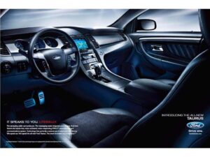 Ford is focusing on the many electronic systems included in the new 2010 Taurus as part of its advertising campaign, including the MyKey system, which gives parents control over how their teens drive.
