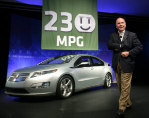 General Motors President and CEO Fritz Henderson announces the Chevrolet Volt extended-range electric vehicle is expected to achieve a city fuel economy of at least 230 miles per gallon.