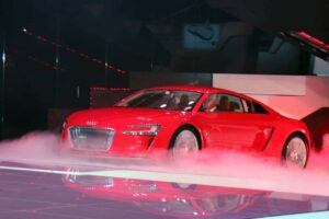 A foggy future for the electric vehicle; here the 2012 Audi e-tron battery supercar