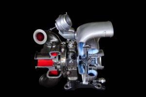 This Honeywell-patented sequential turbo is the key to delivering more power at lower RPMs, even while improving fuel economy.