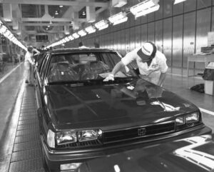 "Detroit dared the Japanese to ""build cars where you sell them."" Initially reluctant, makers like Honda -- which opened the first Japanese auto ""transplant,"" in Marysville, Ohio, in 1982 - soon embraced the idea."