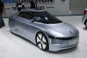 The hyper-efficient Volkswagen L1 can go about 100 miles on a liter of gas - more than 200 miles per gallon.