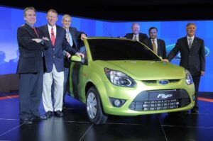 The new Ford Figo could prove to be a cornerstone of growth, according to CEO Alan Mulally, second from left.