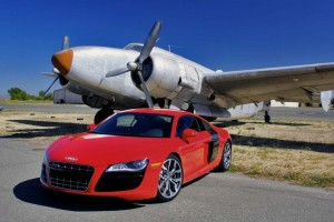 Faster than a speeding bullet...  The 2010 Audi R8 V10 is the fastest car the German maker has ever marketed, launching from 0 to 60 in 3.7 seconds and hitting a top speed of 196 mph - the same as a Ferrari F430.