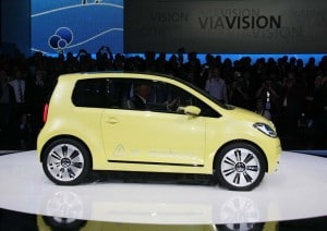 Volkswagen plans to put a version of this e-Up battery car concept, based on its Up minicar, into production by 2013.
