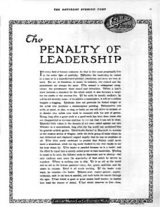 Cadillac Ad, The Penalty of Leadership