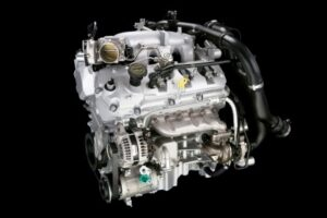 The 3.5-liter EcoBoost™ V-6 engine, the first V-6 direct-injection twin-turbocharged engine produced in North America.