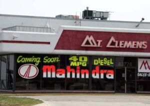 This former Chrysler dealership, in the Detroit suburb of Mt. Clemens, will turn to Indian automaker Mahindra in a bid to survive.