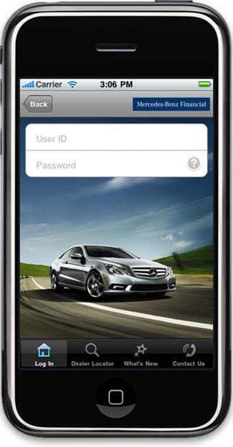 Mercedes benz financial launches iphone app for Mercedes benz financial contact number