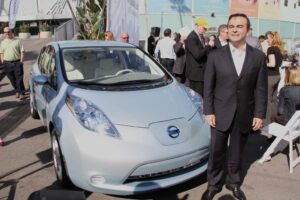 Nissan may eventually offer optional, higher-power, longer-range batteries for the Leaf BEV, shown here with CEO Carlos Ghosn.