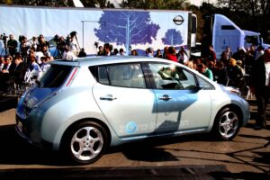 "Nissan rolls out a prototype of the 2011 Leaf battery-electric vehicle to launch its 22-city ""Zero Emissions Tour."""