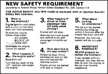 The Great Safety Belt Interlock Fiasco