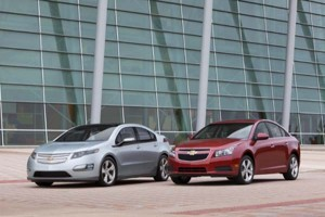 Two high-mileage vehicles to appear at the Los Angeles Auto Show, the Chevrolet Volt and the Chevrolet Cruze.