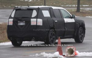 This spy shot tells only part of the story about the next-generation Dodge Durango - or whatever it will be called.