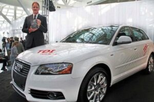 For the second year in a row a diesel, this time the 2010 Audi A3 TDI, has won the Green Car of the Year award, held here by Audi of America CEO Johann De Nysschen.