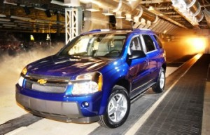 The first 2005 Chevy Equinox rolls off the line at the CAMI Assembly Plant in Ingersoll, Ontario on February 20, 2004.