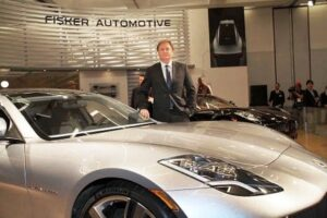 Henrik Fisker with his plug-in hybrid, the $87,900 Karma, which debuts in September 2010.
