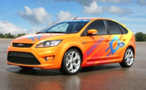 This specially-developed Ford Focus was developed for Jay Leno's new Green Challenge celebrity race.