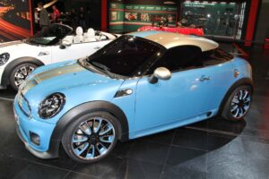 Mini staged several North American debuts, including this sporty Coupe concept, and the roadster to the rear.