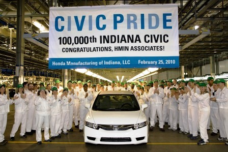 Milestones: 100,000 Honda Civics in Indiana