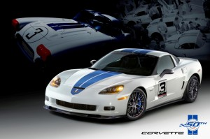 Chevrolet designers have also created a unique 2011 Corvette Z06 to celebrate the 50th anniversary of Corvette racing at Le Mans. This one-of-a-kind Corvette (VIN 0001) features the same blue and white color scheme as the 1960 Corvette that won its class at Le Mans 50 years ago, and will be sold at auction later this year to benefit the National Corvette Museum.